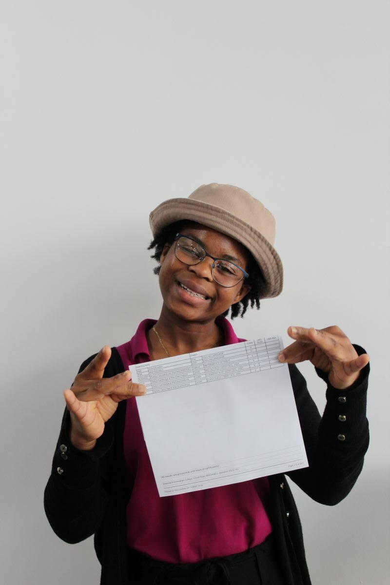 Sandy celebrates her GCSE results